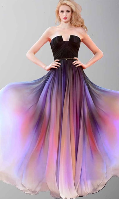Beautiful Sunset Long Ombre Cape Prom Dresses KSP421