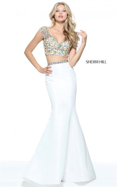 2-Piece Sherri Hill 51167 Ivory Embellished V Neck Mermaid Gown 2017