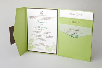 Natural Green Color Tri-folded pocket wedding invitations HPI268