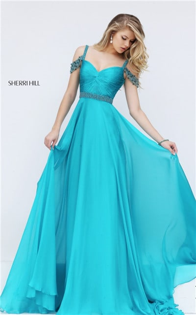 On Sale Sherri Hill 50086 Knotted Ruched Turquoise Jeweled Long Dress Prom 2016