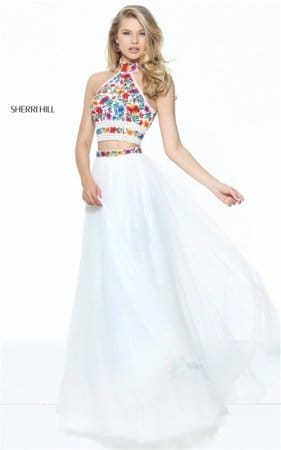Colored Embroidery Ivory 50870 Sherri Hill Beaded Halter 2 PC Long Dress